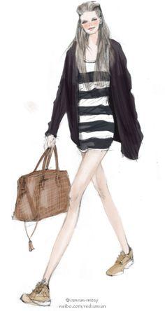 ilustrador de moda pintado Xunxun-missy-