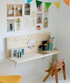 shelf as desk - 10 Nursery Ideas for Small Spaces - Hook It Up - mom.me
