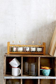 Peg And Awl Apothecary spice rack, crafted from reclaimed wood in Philadelphia, PA. #urbanoutfitters