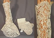 Antique Hand Made Brussels Point de Gaze Duchesse Bobbin Lace Dress Sleeves