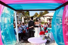 pink & blue canopy // photo by rachel schrank of playaweddings