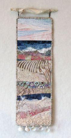 Beach Series 110 Original fiber art by Eileen Williams. This quilt is in my et… Beach Series 110 Original fiber art by Eileen Williams. This quilt is in my etsy shop Fiber Art Quilts, Textile Fiber Art, Fabric Art, Fabric Crafts, Sewing Crafts, Free Motion Embroidery, Machine Embroidery, Machine Quilting, Crewel Embroidery