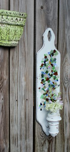 Artistic Seaglass Wall Candlestick  Coastal by ElaLakeDesign, $68.00