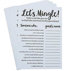 """Looking to help everyone get to know each other at the bridal shower or bachelorette party? Our Let's Mingle Bachelorette Party Card Game encourages your guests to hunt for people who match the """"Someone who.."""" section on the card!"""