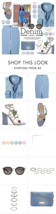 """""""• All Denim, Head to Toe •"""" by julijana-k ❤ liked on Polyvore featuring MANGO, Steve J & Yoni P, Gianvito Rossi, Deborah Lippmann, Sinclair, Moncler, Akira and Forever 21"""