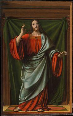 Andrea Solario (Italian, Milan ca. 1465–1524 Milan) Christ Blessing, Oil on wood, 80 1/4 x 51 1/2 in. (203.8 x 130.8 cm). The Metropolitan Museum of Art, New York.