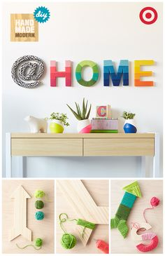 The Hand Made Modern collection has everything to inspire your next creative project including large wooden letters ready to wrap in colorful yarn for an easy and mess-free art piece. Now you can deco