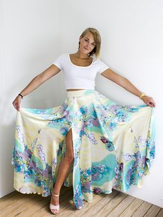Summer maxi skirt with slit