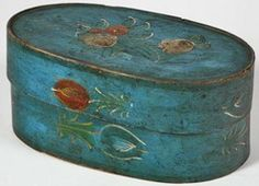 antique hand painted band box - unusual color