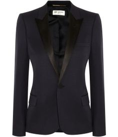 Saint Laurent Silk satin-trimmed wool blazer