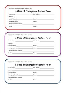 Detailed Emergency Contact Form Printable Medical Form, free to ...
