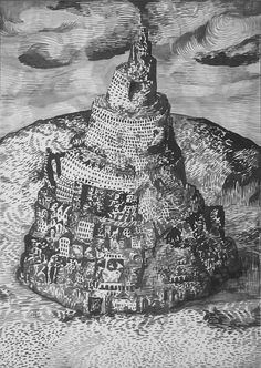 """The Tower of Babel, circa 1993, brush & ink on paper, 16.5"""" x 11.75"""" approx. William T. Ayton"""