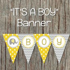 Yellow Grey Baby Shower Banner Elephant Printable Decorations Supplies INSTANT DOWNLOAD Its a Boy Baby Shower 037