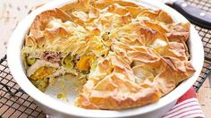 Roast chicken, squash and leek filo pi image