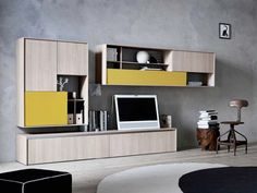 WALL-MOUNTED LACQUERED MELAMINE STORAGE WALL C_DAY K14 | WALL-MOUNTED STORAGE WALL | CESAR ARREDAMENTI