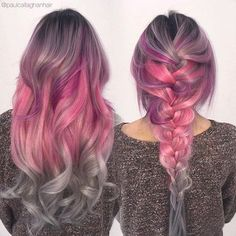 Beautiful French braid with dramatic rose hair color, by @paulcallaghanhair