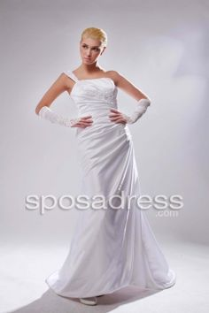 Fashion Style One Strap Ruffled A-line Satin Wedding Dress