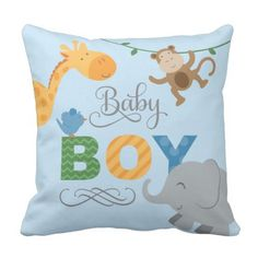 Child Boy | Jungle Animals Throw Pillow. ** See even more at the picture