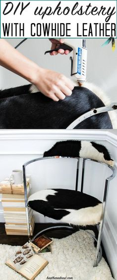 Easy tips for reupholstering a chair with cowhide leather. DIY upholstery doesn't have to be hard!! http://www.heatherednest.com