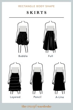 In this section, we explore how to dress the rectangle body shape to achieve a balanced silhouette. Make sure to check all body shapes that apply to you. Fashion Mode, Skirt Fashion, Fashion Outfits, Curvy Fashion, Fall Fashion, Fashion Trends, Body Shape Guide, Dress For Body Shape, Pear Body