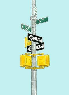 New York Sign - pencil drawing by Christine Berrie Illustration, via Flickr