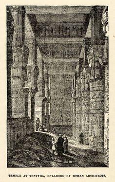 1904 Print Tentyra Column Dendera Divine Pillar Hathor Bas Relief Sculpture XHA4