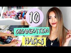 10 Organization Hacks That Will Save Your Life! Makeup Drawer Organization, Makeup Storage Organization, Dollar Tree Makeup, Easy Diy Makeup, Makeup Collection Storage, Makeup Containers, Makeup Magazine, Diy Makeup Vanity, Makeup Blog