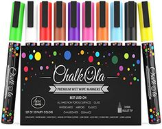 From 8.95:Chalk Pens - Pack Of 10 Neon Colour Markers - Use On Whiteboard Chalkboard Window Blackboard - 3 Mm Bullet Tip | Shopods.com
