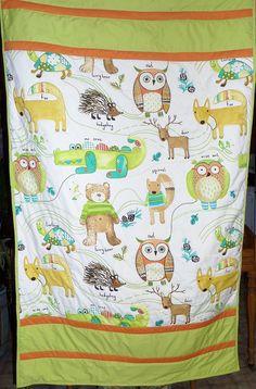 Toddler bedding boy quilt  Woodland animal by createdbymammy