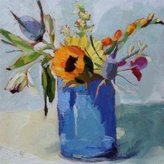 "Daily Paintworks - ""Birthday Flowers"" - Original Fine Art for Sale - © Amy Schimler-Safford"