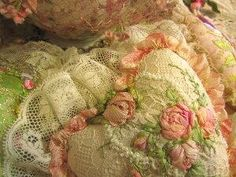 gather ye rosebuds - darling pillow design - lace ruffle, lace background, embroidered roses (silk ribbon?) - wonderful shabby chic / vintage / cottage style