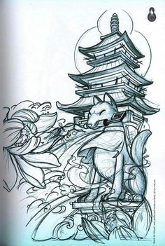 small tattoo designs on hand Japanese Temple Tattoo, Japanese Tattoo Art, Japanese Tattoo Designs, Japanese Sleeve Tattoos, Japanese Art, Tattoo Sketches, Tattoo Drawings, Tattoo Oriental, Foo Dog Tattoo