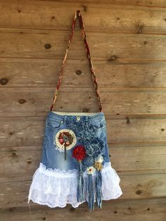 upcycled jeans bag festival bag festival purse hippie crossbody bag purse with lace denim tassels repurposed jeans bag large denim flowers by TheDenimGypsy on Etsy