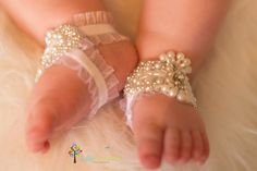 White Baby Barefoot Sandals  Baby Shoes