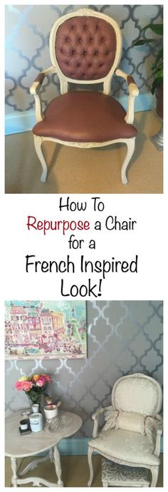Check out this tutorial on how to repurpose a chair to get a French Inspired Look. If your home decor has a French flair, you will want to check out www.pinktoolgirl.com for some great tips.