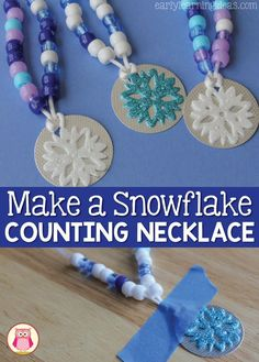 Kids will have so much fun making these fun snowflake counting necklaces, that they won't realize they are working on fine motor skills and math concepts. This is a great activity for your winter and snow themed centers in preschool, pre-k, and kindergart