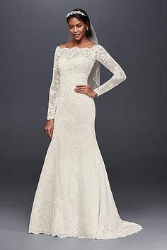 Long Sleeve Wedding Dress with Beaded Lace Style SWG685   Pinterest     Plus Size Wedding Dresses   Bridal Gowns   David s Bridal