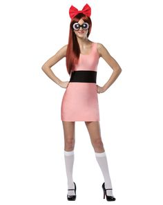 "Powerpuff Girls Blossom Spirit Exclusive - Blossom is ""the smart one"" and self-proclaimed leader of the Powerpuff Girls. Her personality is ""everything nice"" and her signature color is pink. Lead the way to an awesome Halloween when you wear this short and sassy officially licensed adult women's Powerpuff Girls pink and black Blossom costume."