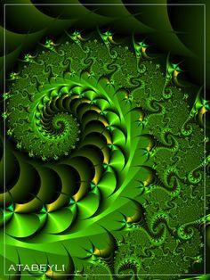 Glamour Rich by Atabeyli, Fractal Art Art Fractal, Fractal Design, Fractal Patterns, Wow Art, Image Hd, Arabesque, Sacred Geometry, Shades Of Green, Art Nouveau