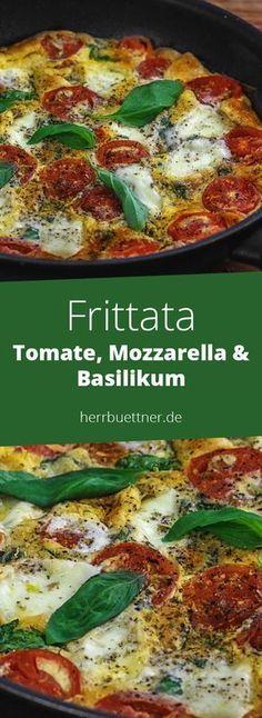 Frittata mit Tomate, Mozzarella & Basilikum.
