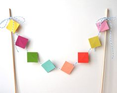 Cake Bunting 12 Inches of Colorful Squares  Decoration by LBCpaper, $7.95