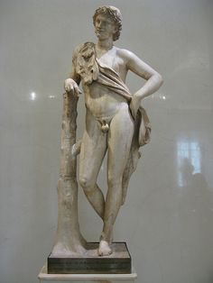 A resting Satyr (woodland deity, companion of the god Dionysus). Roman work, 2nd century AD; after the Greek original of the first half of the 4th century BC by Praxiteles. Marble. Hermitage Museum, St Petersburg