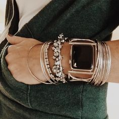 Love bracelet stacks...mixing colors and textures, sometimes a watch.