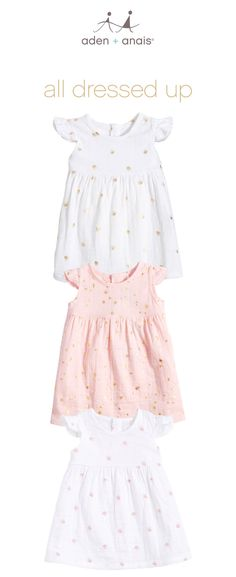 soft, breathable, adorable cotton muslin dresses made smart: buttons up the back for easy changes, a hint of stretch and flutter sleeves for added cuteness.