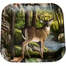 """Buck Camouflage 9"""" Square Party Plates - 8 Pack $3.99"""