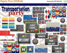 60% OFF Transportation Birthday Party por EasyPartyPrintables