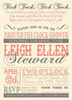 around the clock shower bridal shower party bridal shower invitations wedding showers party