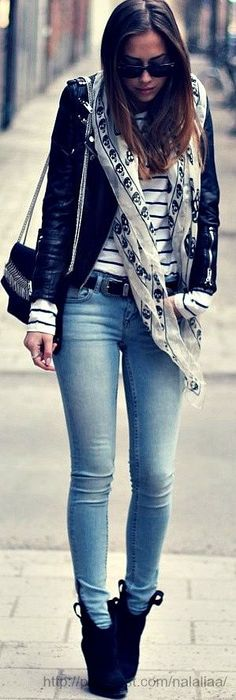 leather jacket, McQueen skull scarf, striped top, jeans, and booties