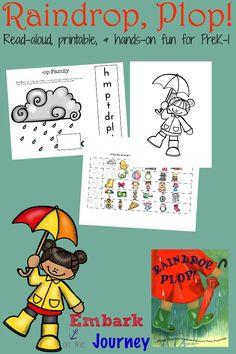 Raindrop, Plop! : Read-aloud, printable, and hands-on activities | embarkonthejourney.com