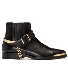Black Buckled Chelsea Boots